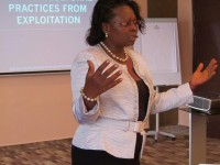 Justice Prudence Galega leading a session during the Institute in Cameroon, July 2012. Photo credit: Vital Voices