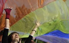 A demonstrator holds a rainbow flag in Bratislava