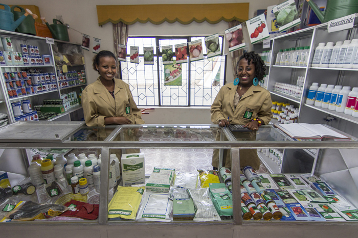 Sales Clerks Hiwot Tefera and Beyenech Gossaye are ready to welcome customers at the new Bishoftu Farm Service Center in Ethiopia. This is one of six locally-owned centers established through the USAID Commercial Farm Service Program (CFSP). /CNFA Ethiopia CFSP