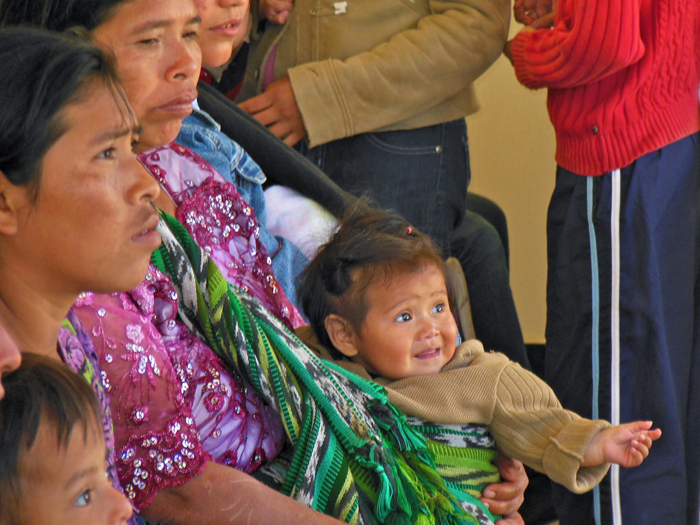 This child was formerly categorized as malnourished but has recovered. Her family is attending a nutrition course at the national hospital in Chimaltenango, Guatemala, where they also received supplemental food aid./ Michel A. Armenta