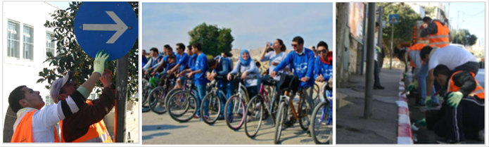 Young Palestinian Youth Local Shadow Councils install traffic signals, paint sidewalks and organize a local tourism bike tour.