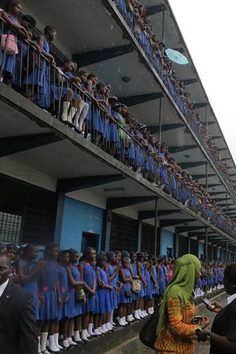 Girl students at St. Joseph's Secondary School in Freetown, Sierra Leone await the arrival of Dr. Biden