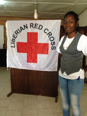 As a counselor with the Liberian Red cross, Jestina Hoff must find ways to comfort Ebola victims or their families without getting close to them