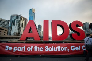 Signs highlighting the 2014 International AIDS Society Conference on Princes Bridge in Melbourne, Australia. /  International AIDS Society/Steve Forrest