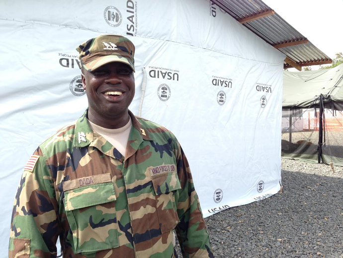 Liberian Army Capt. Glee Dilliard Dada led a team of Liberian soldiers who worked closely with the U.S. military to build the facility. Despite the rain, heat and construction setbacks, the Ebola treatment unit was built in 35 days / Carol Han, USAID/OFDA