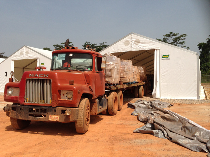 USAID funded the UN World Food Program (WFP) to build a system of warehouses in five strategic locations throughout Liberia. Photo courtesy: Carol Han, USAID/OFDA