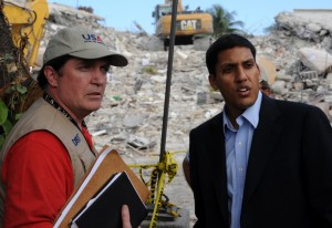 USAID's Haiti Earthquake Disaster Assistance Response Team Leader Tim Callaghan and USAID Administrator Raj Shah during the 2010 response. / USAID.