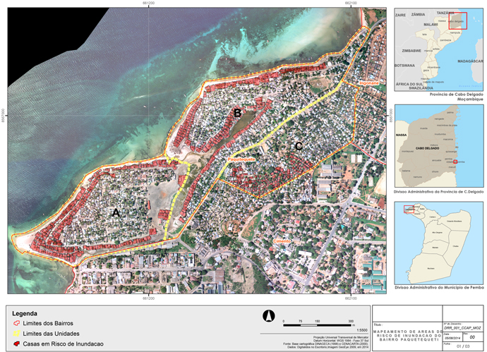 In Pemba, Mozambique, many areas are vulnerable to sea level rise and flooding. Paquitiquete, a neighborhood of fishermen in Pemba, is one of the most vulnerable. This map shows houses that are most at risk there.