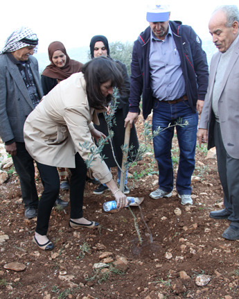 USAID Assistant Administrator of the Bureau for the Middle East plants an olive tree with olive farmers participating in the Olive Oil Without Borders project. / Lubna Rifi, USAID
