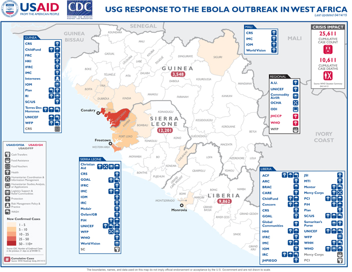 This map shows the latest statistics regarding the Ebola response in West Africa as of April 14.