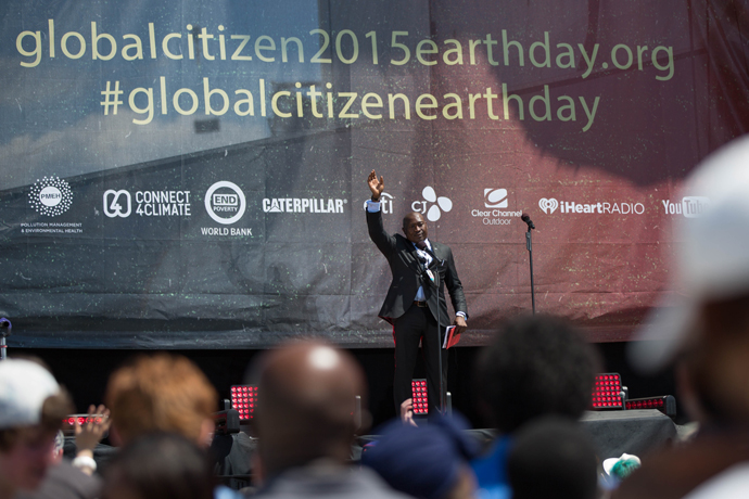 Sierra Leone Minister of Energy Ambassador Henry Olufemi Macauley energized the crowd at the Global Citizen 2015 Earth Day event with a pledge to improve economic opportunity for young people in his country. / Ellie Van Houtte, USAID