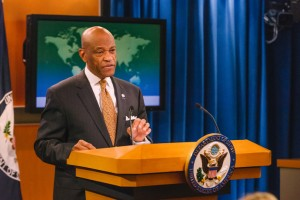 USAID Acting Administrator Alfonso E. Lenhardt delivers remarks at the briefing on the 2015 QDDR at the State Department. / Robb Hohmann, USAID