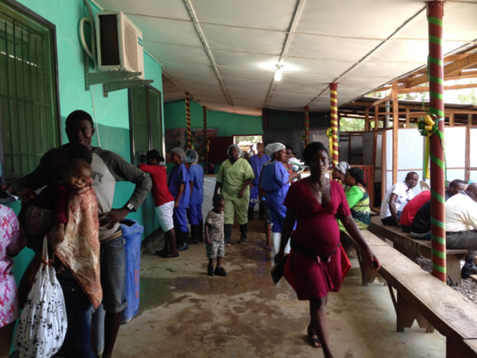 A look inside Redemption's outpatient area where patients are now screened and sorted as quickly as possible to help reduce possible exposure to Ebola. / Carol Han, USAID/OFDA
