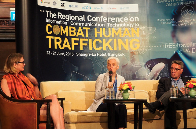 Senior Counter-Trafficking in Persons Fellow Marina Colby for DCHA/DRG presents at the Regional Conference on Information Communication Technology to Combat Human Trafficking in Bangkok. / @USAIDAsia Twitter
