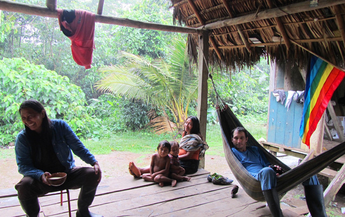 Briane Keane in the indigenous Sapara community of Llanchamacocha, Ecuador. / Jose Proano, Land is Life