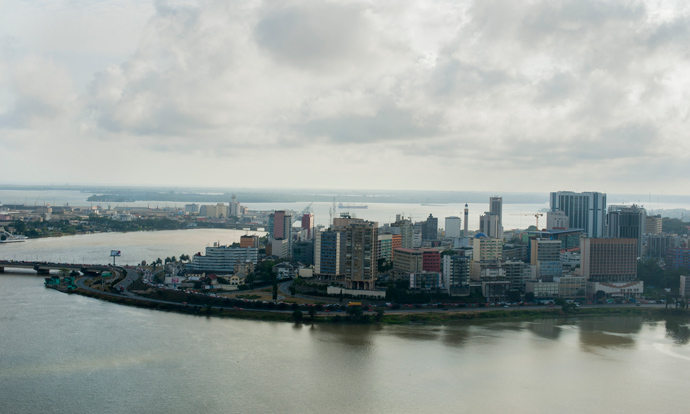 A view of Abidjan, the economic capital of Côte d'Ivoire. The country, which accounts for 40 percent of West Africa's economic activity, is a leading producer of cocoa, rubber, coffee, cashew and palm oil and serves as the home of the African Development Bank and many international companies. / Kendra Helmer, USAID
