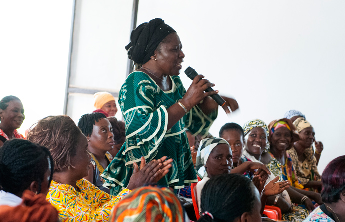 Women in Duékoué, Côte d'Ivoire, ask the mayor about the upcoming elections and other issues during a meeting Sept. 30. USAID's Office of Transition Initiatives is supporting social cohesion activities, including the coalition of area women to strengthen dialogue and positive interaction between women from different ethnic communities. / Kendra Helmer, USAID