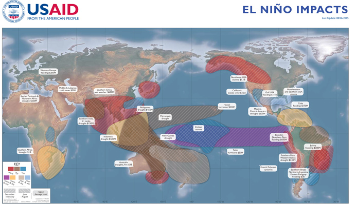 This map illustrates an average range of meteorological impacts caused by El Niño based on historical data. It also shows damages caused by the two most recent El Niño events. / USAID/OFDA