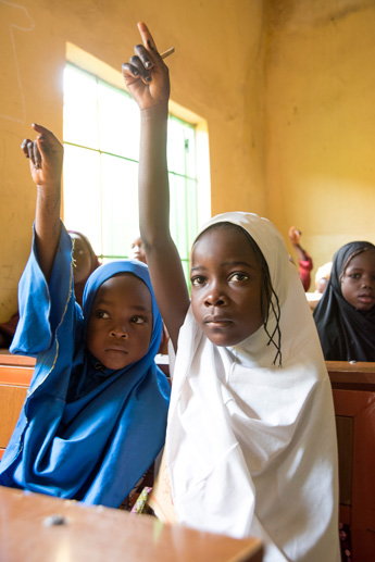 Youth displaced by Boko Haram take part in a non-formal learning class in Gombe, Nigeria on Sept. 26 as part of USAID's Education Crisis Response program. / David Snyder for USAID