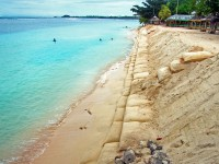 Resistant to punctures and ultraviolet rays, these sturdy, multiple-ply sand bags discreetly work double time as they protect the coastline while preserving the shore's natural look. / C-CAP
