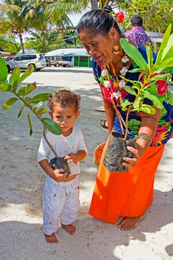 Communities in Samoa help plant vegetation to form a natural barrier from the sea. / C-CAP
