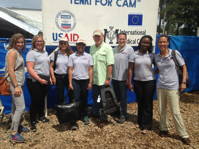 Members of USAID's Ebola Disaster Assistance Response Team recently met near the border of Guinea and Sierra Leone to review the progress of border management programs. / USAID/OFDA