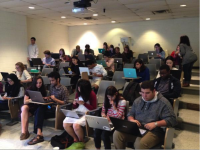 Students and staff from AidData and the College of William & Mary participating in a Crisis Mapping event in April, 2015. / Hannah Dempsey, AidData