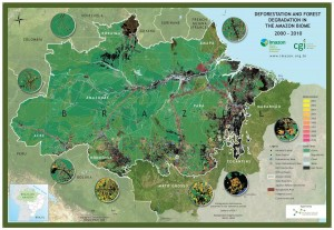 The map shows deforestation and degradation in the Amazon rainforest. The State of Paráa has experienced some of the heaviest rates of deforestation in Brazil. / Imazon