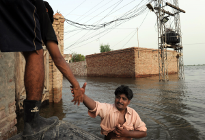In Pakistan, Nepal and other countries, climate-change linked natural disasters, including flooding, are becoming more common. Asif Hassan / AFP