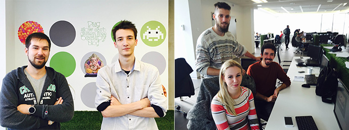HireApp creator Nemanja Stefanovic and team member (left). New ICT Hub participants Vanja Belić, Stevan Janković, and Vuk Spplajković (right). / Laura Jagla, USAID
