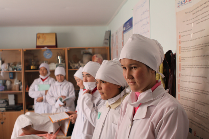 Skilled birth attendants, like these nurse-midwives at a midwifery education center in Afghanistan's Bamyan province, are vital for ensuring safe and healthy deliveries for mothers and their babies. USAID has helped train more than half of all midwives currently working in Afghanistan. / USAID Afghanistan
