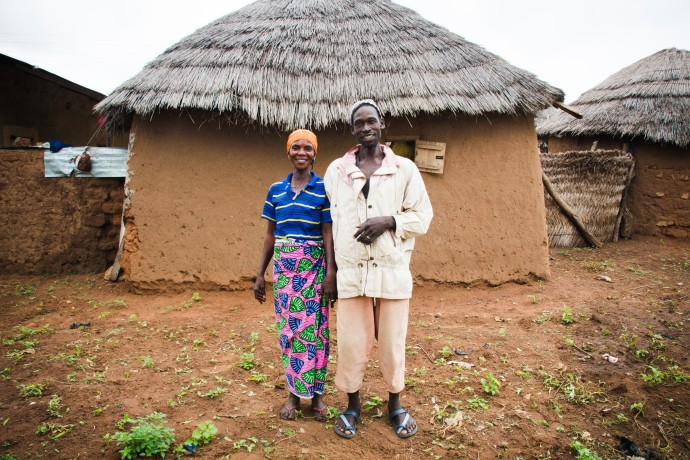 Project beneficiaries, like the couple above, have benefited from a multi-sectoral approach that includes providing agricultural and nutritional training, providing animals for farm use, improving WASH infrastructure, introducing farmers to markets, and more. / USAID/Ghana