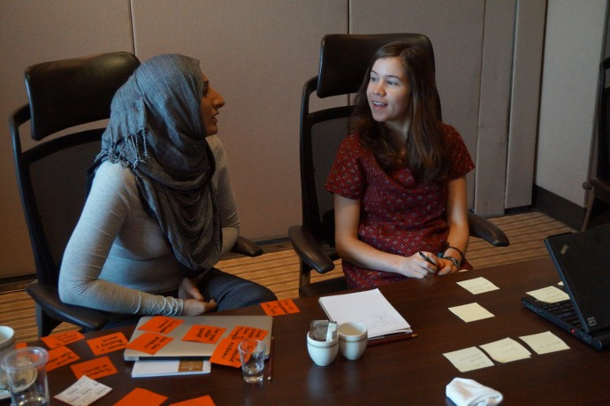 Zubaida Bai and ayzh intern Kelly Brennan iterating on potential impact metrics they can use when communicating with their stakeholders during a workshop in Chennai, India. / Kyle Munn, SEAD