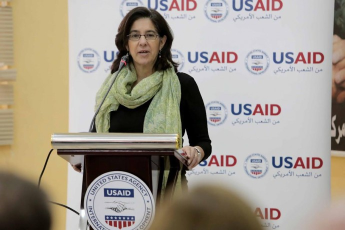 Deputy Assistant Administrator Mona Yacoubian speaks at USAID's Non-Formal Education Program launch event in Ma'an, Jordan. / Mohammad Maghayda for USAID