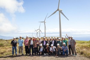 Technical experts from Indonesia's power utility, PLN, and government officials from Indonesia's Ministry of Energy and Mineral Resources visit a Maui wind farm to learn how Hawaii is using smart policies and regulations to attract private investment and spur clean energy development. / Sarah Fretwell