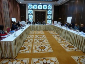 Libya's Constitutional Drafting Assembly members and media professionals participate in a press conference to discuss the constitutional development process and key constitutional issues.