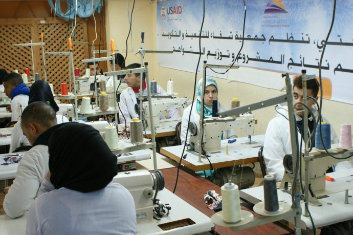 Youth participate in a morning sewing class at the Chifae Association, a USAID-supported NGO providing vocational training to local youth in an impoverished urban neighborhood in Tangiers. /USAID