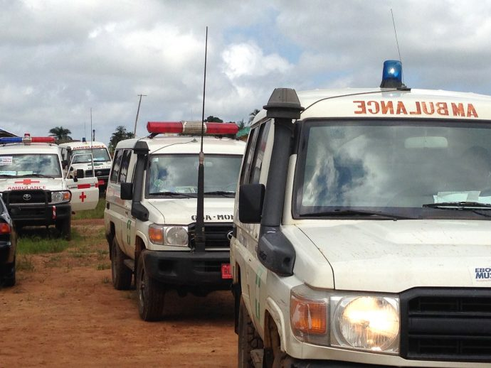 Ambulances at the site of an Ebola flare-up in Margibi County, Liberia. /Kate Thomas