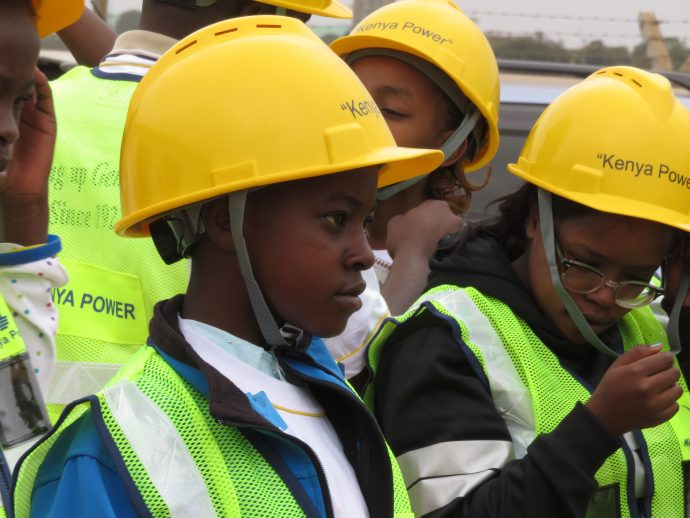 Girls visit a substation at Kenya Power and Lighting Co.'s Bring Your Daughter to Work Day. /Ellen Dragotto, USAID