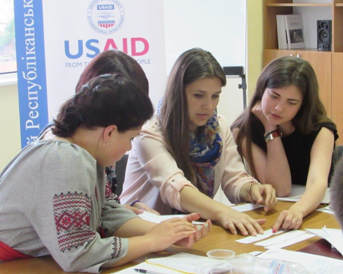Ukrainian youth begin to plan a local advocacy project for their community following a USAID-supported training on political leadership led by Taras Sluchyk. / IRI