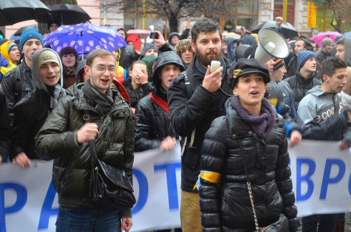 Taras Sluchyk has organized university students from across the country to rally. / Courtesy of IRI