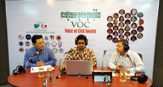 Radio talk-show on Land Rights and Facing Justice in Cambodia in 2016 (Latt Ky on left). /ADHOC