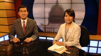 Linda is interviewed by Men Kimseng at Voice of America during her 2014 visit to the United States as part of the State Department's International Visitor Leadership program. / IRI
