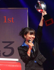 Linda Eang won first prize in the International Republican Institute's televised debate series Next Generation in 2014. / IRI