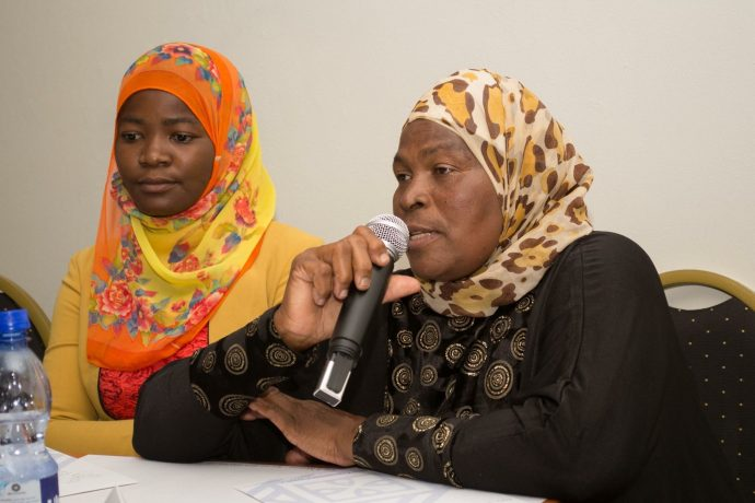 Florence Mwitha, a recent graduate, representing girls during a live broadcast of Kumakomo Radio (left) and Twaina Sanudi, an activist advocate of Muslim girls' rights (right). / IREX