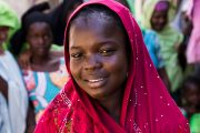 Aisha Mohammed, who fled with her family when Boko Haram attacked her village in Northeast Nigeria was able to continue her education through a non-formal learning center funded by USAID. Erick Gibson/Creative Associates International for USAID