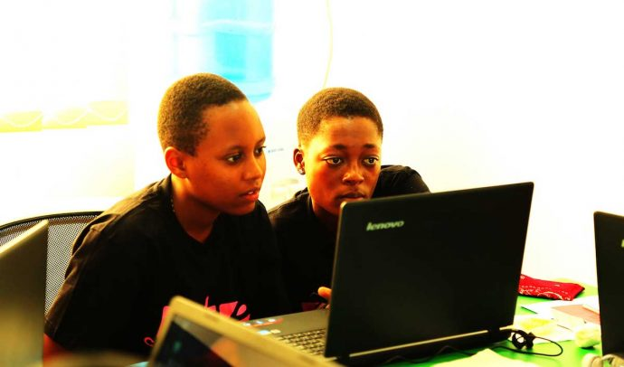 "Girls in the ""She Codes for Change"" course. / Tanzania Bora Initiative"