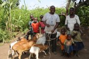 Jospeh Ebwalu, and family, beneficiaries of Village Enterprise's skills building course. Credit: Village Enterprise.