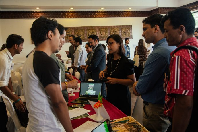 Data Driven Farming Prize: Teams get feedback on their proposed solutions during a Haat Bazaar in Katmandu. Credit: Kathaharu Studio.