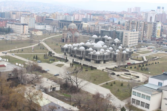 A view of Pristina, Kosovo from atop a building